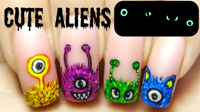 Cute Aliens ⎮ Glow in the Dark Freehand Nail Art Tutorial