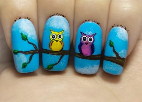Cute Owls ⎮ Freehand Nail Art Tutorial