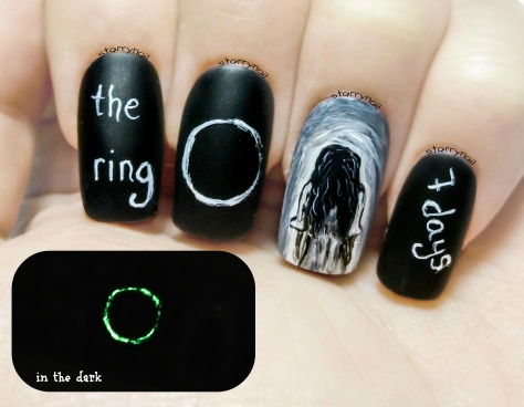 The Ring ⎮ Creepy Girl ⎮ Glow in the Dark Freehand Nail Art Tutorial