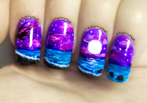 Seascape at Night ⎮ Freehand Nail Art Tutorial