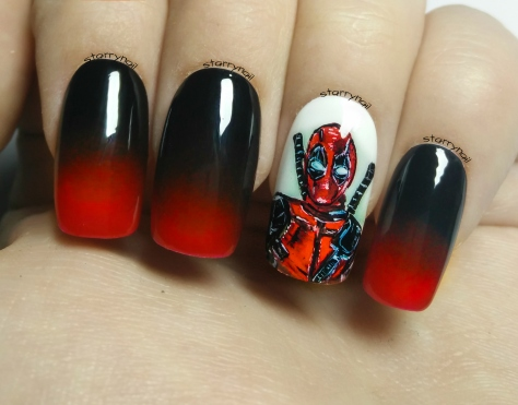 Deadpool ⎮ Freehand Nail Art Tutorial