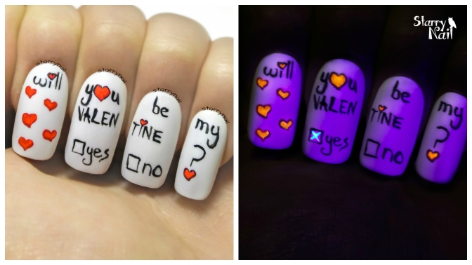 Valentine's Day Note & Invisible Answer ⎮ Glow in the Dark Freehand Nail Art Tutorial
