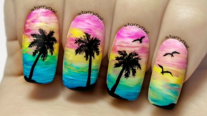 Sunset & Palms ⎮ Freehand Nail Art Tutorial