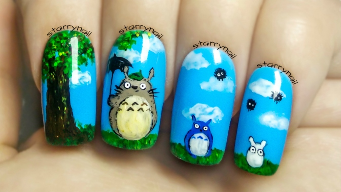 Totoro ⎮ Freehand Nail Art Tutorial