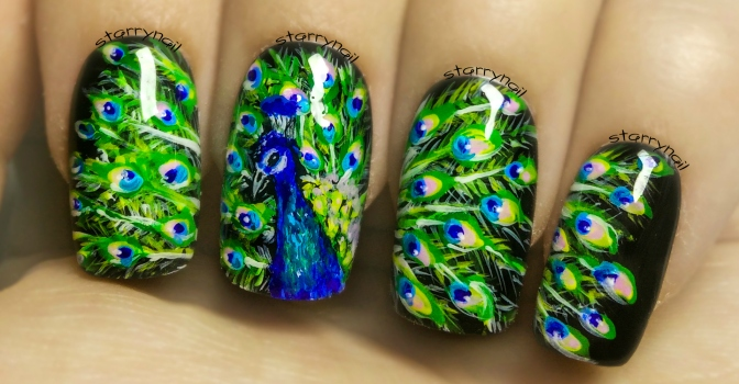 Peacock Freehand Nail Art Tutorial