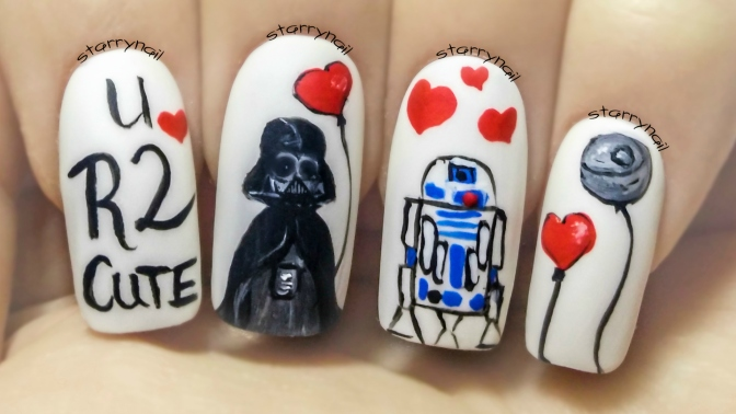 Star Wars on Valentine's Day ⎮ Freehand Nail Art Tutorial