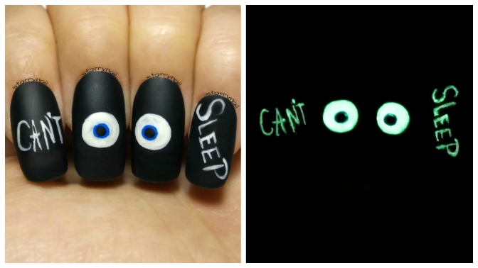Can't Sleep ⎮Glowing Eyes ⎮ Glow in the Dark Freehand Nail Art Tutorial