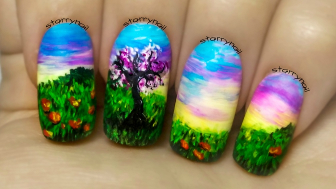 Cherry Tree at Sunrise ⎮ Freehand Nail Art Tutorial