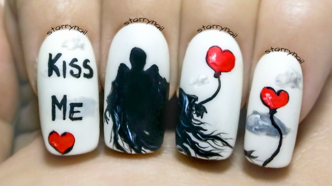 Dementors on Valentine's Day ⎮ Freehand Nail Art Tutorial