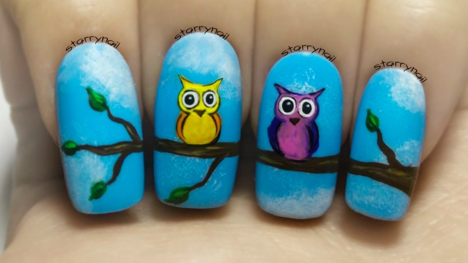 Cute Owls ⎮ Freehand Nail Art Tutorial