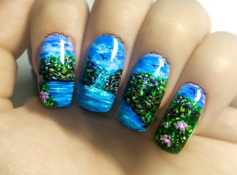 Waterfall Freehand Nail Art Tutorial