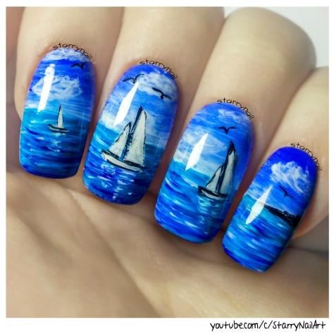 Seascape & Boats ⎮ Freehand Nail Art Tutorial
