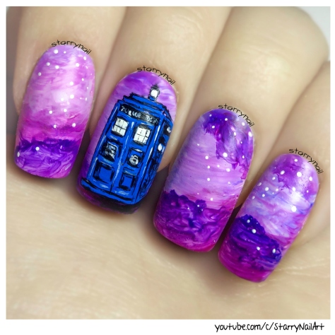 Tardis doctor who freehand nail art tutorial starrynail tardis doctor who freehand nail art tutorial prinsesfo Gallery