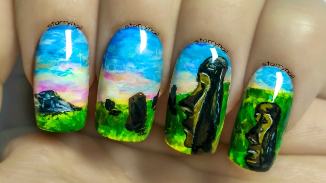 Easter Island ⎮ Freehand Nail Art Tutorial