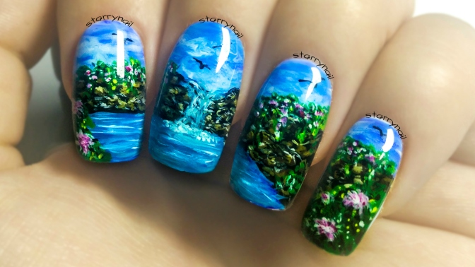 Waterfall Freehand Nail Art Tutorial