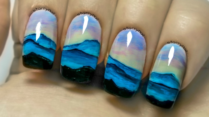Mountain Landscape ⎮ Freehand Nail Art Tutorial