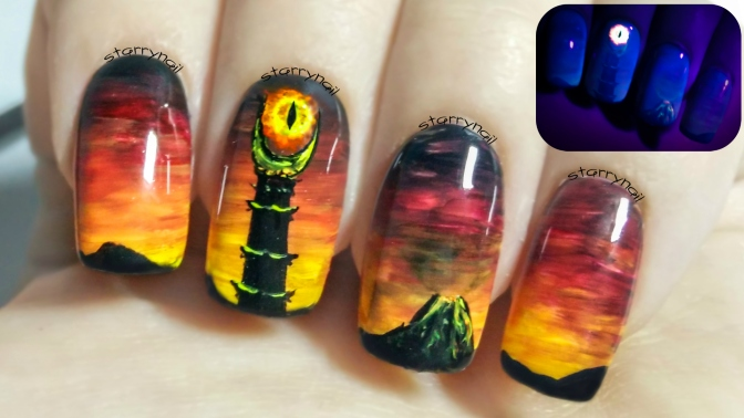 Eye of Sauron ⎮ Lord of the Rings ⎮ Glow in the Dark Freehand Nail Art Tutorial