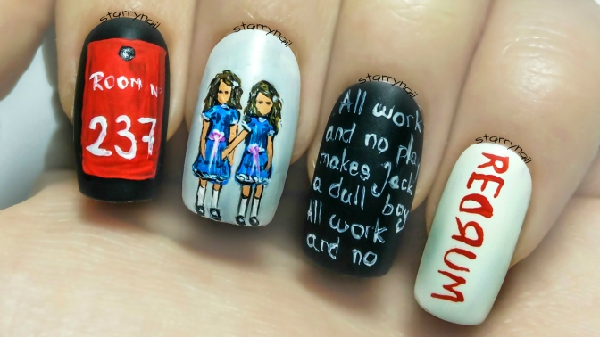 "The Two Girls from ""The Shining"" ⎮ Freehand Nail Art Tutorial"