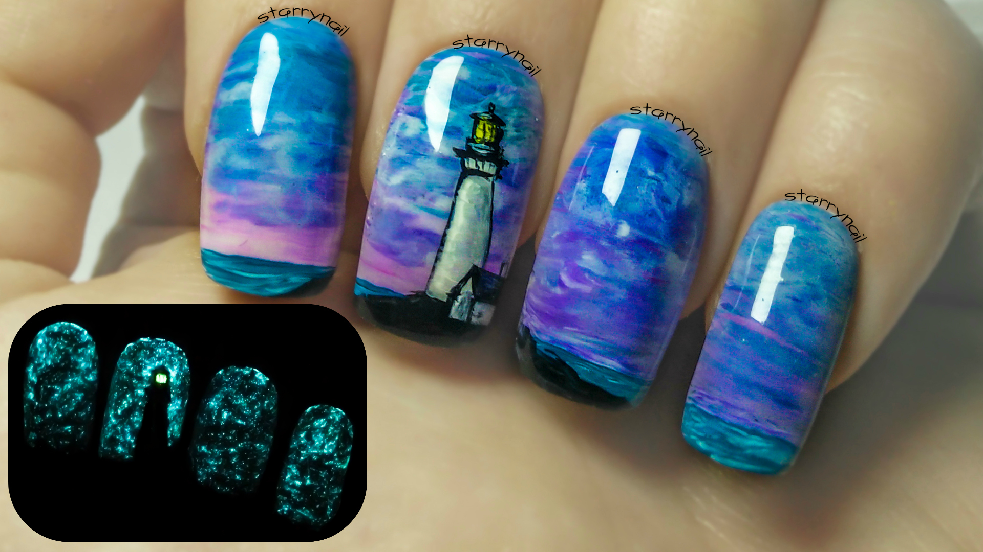 Lighthouse ⎮ Glow in the Dark Freehand Nail Art Tutorial | StarryNail