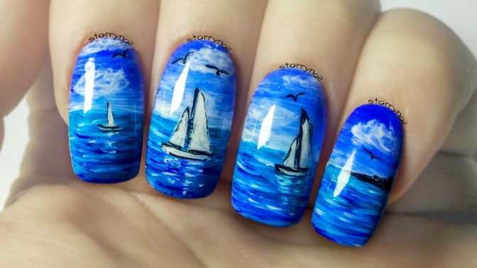 Seascape & Boats ⎮ Freehand Nail Art Tutorial