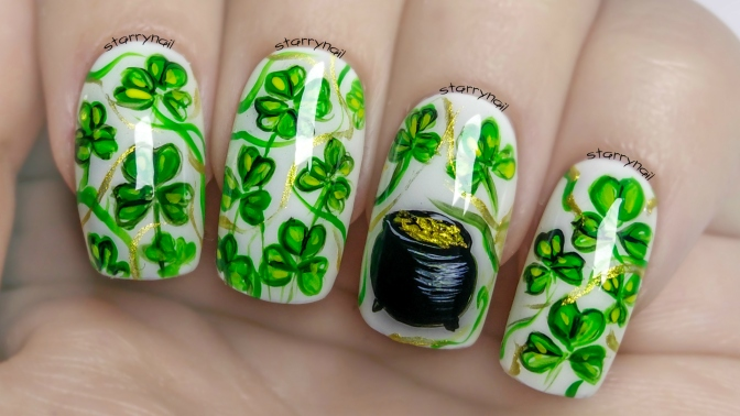 Easy Shamrock Nails For St. Patrick's Day ⎮ Freehand Nail Art Tutorial
