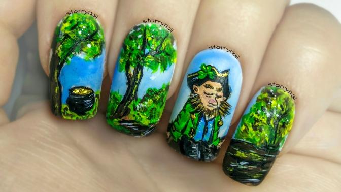 Leprechaun Illustration for St. Patrick's Day ⎮ Freehand Nail Art Tutorial
