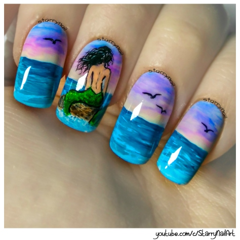 Mermaid on a Rock ⎮ Freehand Nail Art Tutorial