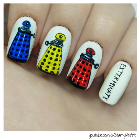 Daleks from Doctor Who [Freehand Nail Art Tutorial]