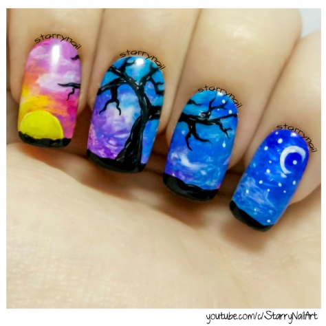 Day & Night ⎮ Freehand Nail Art Tutorial