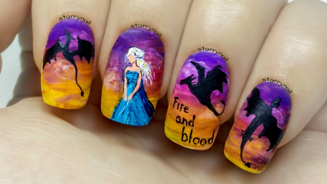 Daenerys Targaryen – Game of Thrones [Freehand Nail Art Tutorial]