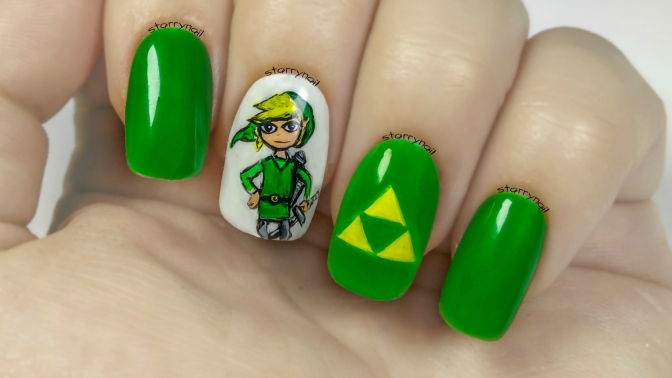 Link - The Legend of Zelda [Freehand Nail Art Tutorial]