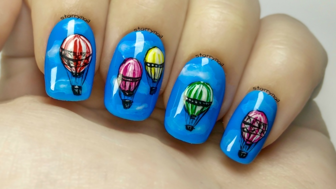 Hot Air Balloons [Freehand Nail Art]