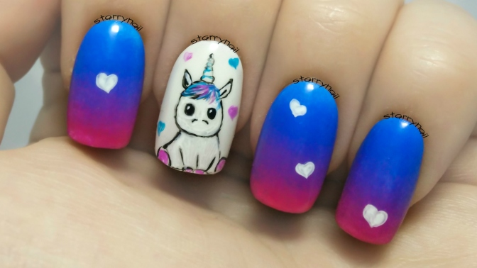 Cute Unicorn ⎮ Freehand Nail Art Tutorial