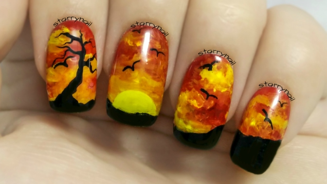Red Sunset Freehand Nail Art Tutorial