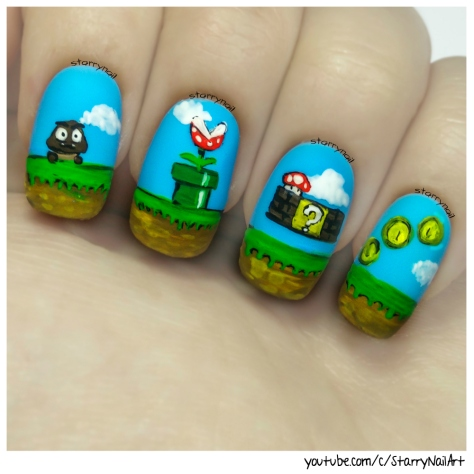 Super Mario Bros [Freehand Nail Art]