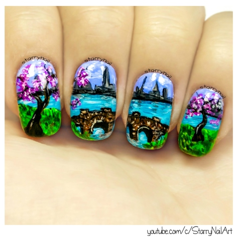 City Landscape & Cherry Trees [Freehand Nail Art]