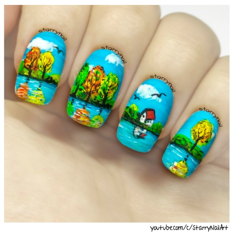 Landscape & Tiny Lake House [Freehand Nail Art]