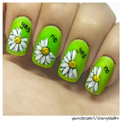 Daisies - loves me, loves me not [Freehand Nail Art]