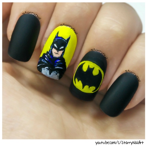 Batman [Freehand Nail Art]
