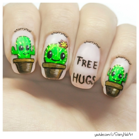 Cute Cactus Nails [Freehand Nail Art]