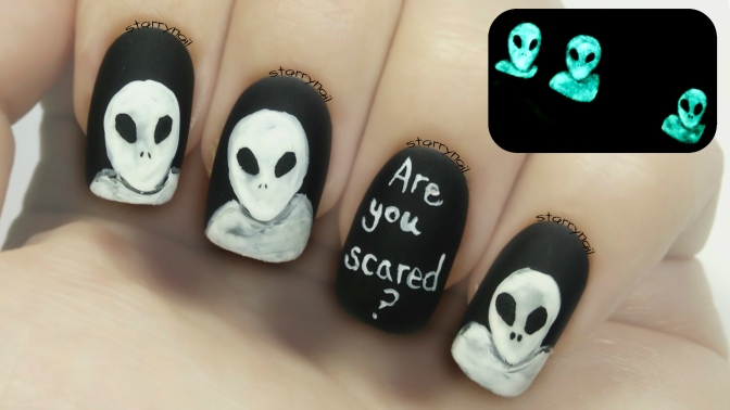 Scary Aliens [Glow in the Dark Freehand Nail Art]