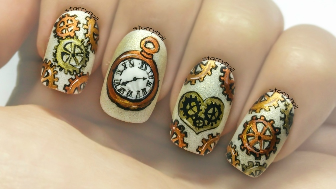 Steampunk Watch Gears [Freehand Nail Art]
