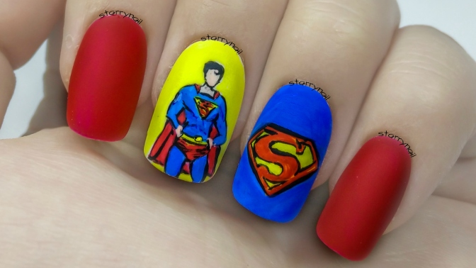 Superman [Freehand Nail Art]