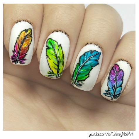 Colorful Feathers [Freehand Nail Art]