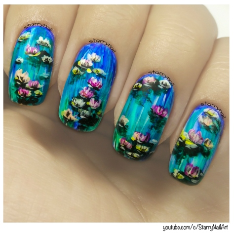 Impressionist Water Lilies [Freehand Nail Art]