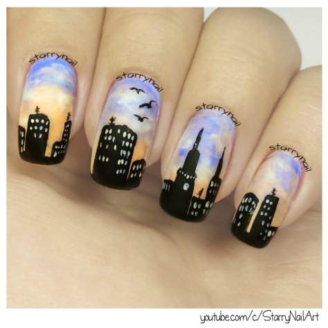 Sunrise in a city [Freehand Nail Art]