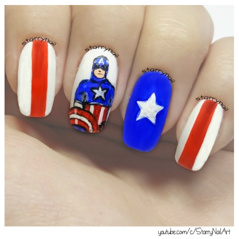 Captain America [Freehand Nail Art]