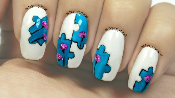Puzzle Nails [Freehand Nail Art]