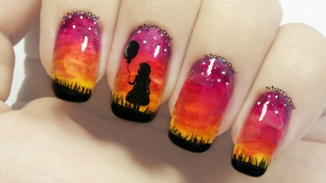 Girl With a Balloon – Sunset Nails [Freehand Nail Art]