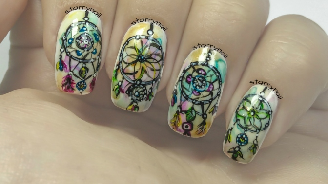 Watercolor Dreamcatchers [Freehand Nail Art]